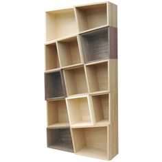 bloq Wooden Puzzle Bookcase (108,190 PHP) ❤ liked on Polyvore featuring home, furniture, storage & shelves, bookcases, wood shelving, wooden shelves, slanted shelf bookcase, wood book shelf and wood bookcase