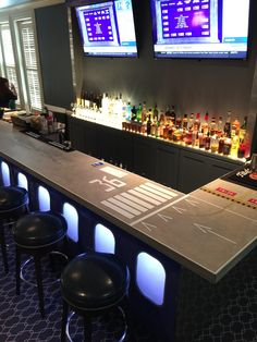 Homebrewing garage Airport themed bar with runway printed bar top. Deco Aviation, Aviation Theme, Airport Theme, Aviation Furniture, Airplane Decor, Café Bar, Garage Bar, Home Landscaping, Cafe Interior