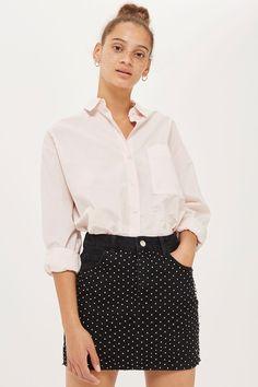 MOTO Diamond Mesh Denim Mini Skirt