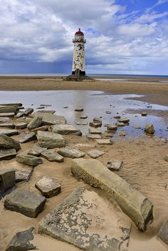 Point of Ayr Lighthouse on Talacre Beach, Wales.