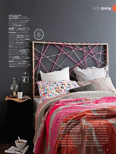 What a fun and easy way to make a headboard!