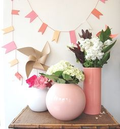 fun girls weekend party, stress free (plus great decorating ideas! Flag Garland, Paper Banners, Girls Getaway, Girls Weekend, 1st Birthday Parties, Party Planning, Party Time, Flower Arrangements, Baby Shower