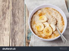 Bowl Of Oatmeal Porridge With Banana And Caramel Sauce On Rustic Table, Hot And Healthy Breakfast Every Day, Diet Food Стоковые фотографии 340576298 : Shutterstock