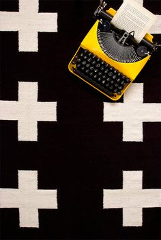 UNION RUG 5x8 cotton flatweave rug black and by PatternSociety, $199.00