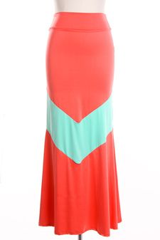 2e6f83411 Sweet Chevron Maxi skirt in coral and mint stripe. By Moxie Wear…