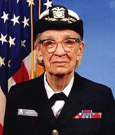 As an inaugural pin, I present to you Grace Hopper. Thanks in large part to her huge brain and unending moxie, you have a computer on which to pin women less deserving of your admiration!