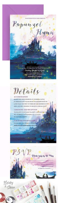 Tangled Wedding Invitation- Printable Disney-inspired watercolor wedding invitations