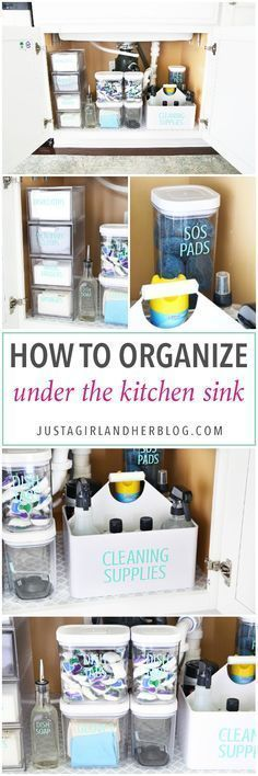 Home Organization- How to Organize Under the Kitchen Sink, Kitchen Organization, Organized Kitchen, organized cleaning supplies, organizing underneath the sink, cabinet organization, organized, organizing, decluttering #homeorganizationdeclutter