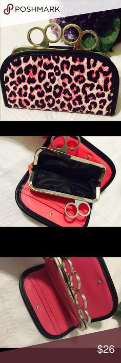 """‼️⭐️SALE⭐️‼️  brass knuckle style wallet  Hardcore yet cute pink black and white brass knuckle wallet. Plenty of inside sleeves and middle coin pocket. 7"""" long 5 1/2"""" width. Also very comfortable to hold. Bags Wallets"""