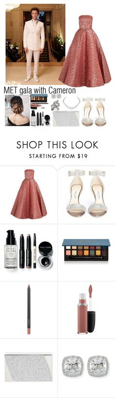 """MET gala with Cameron Dallas"" by ap0dita ❤ liked on Polyvore featuring GALA, Oscar de la Renta, Jimmy Choo, Bobbi Brown Cosmetics, Anastasia Beverly Hills, MAC Cosmetics, Khirma Eliazov, Harry Winston, Frederic Sage and LE VIAN"
