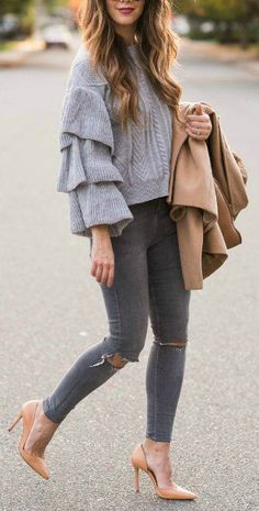 Grey Ruffle Top | Grey Jeans | Tan Heels | Tan Coat | Tan Tote | Sunnies | how to style a ruffle sweater | ruffle sweater style tips | winter style | winter fashion | style ideas for winter || The Girl in the Yellow Dress #winterstyle #rufflesweater #greystyles #winterfashion