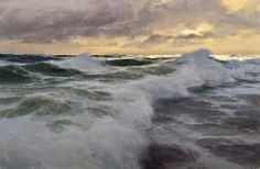 don demers . dusk at the reef . oil 12x18