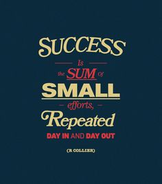 Sucess is a sum of all small efforts, repeated day in and day out