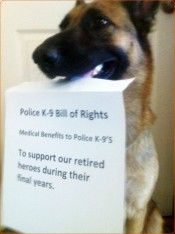 """K9 Bill of Rights are needed. They spend their entire lives helping keep us safe, then due to them being labeled as """"Equipment"""", they don't receive the financial aide needed to keep them healthy once they are Retired. DISGRACEFUL, a lazy human can """"work the system"""" and get ALL kinds of financial assistance, but police K-9's get -nothing-. Id rather my tax dollars go to K-9's!"""