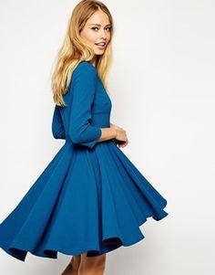 Enlarge ASOS Skater Dress with Full Dipped Hem Skirt and 3/4 Sleeve