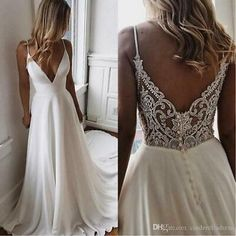 Boho Wedding Dress With Sleeves, V Neck Wedding Dress, Top Wedding Dresses, Cute Wedding Dress, Wedding Dress Trends, Tulle Wedding, Prom Dress, Wedding White, Lace Dresses