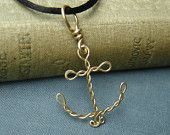 Items similar to Brass Anchor Pendant - Wire Rope Anchor Necklace on Etsy Wire Wrapped Pendant, Wire Wrapped Jewelry, Wire Jewelry, Beaded Jewelry, Handmade Jewelry, Jewellery, Anchor Jewelry, Anchor Necklace, Wire Crafts