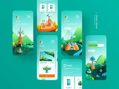 Green Island Game App by JzhDesigner on Dribbble View on Dribbble Layout Design, Web Design, Game Ui Design, Ui Design Mobile, Mobile Ui, Mobile Game, Interface Design, Game Interface, Design Websites