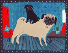 Two Pug Painting - Whimsical Double Dog Folk Art - Teal, Blue, Green, Red, Black and Fawn via Etsy