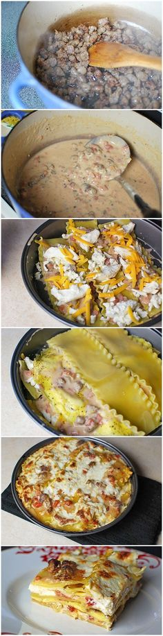 Breakfast Lasagna      1 pound lasagna noodles     8 eggs     1 cup mozzarella     1 cup cheddar     1 cup ricotta     SAUCE:     3 tablespoons butter     3 tablespoons flour     2 cups milk     1 pound raw loose breakfast sausage     1 onion     1 14 oz can Muir Glen diced tomatoes