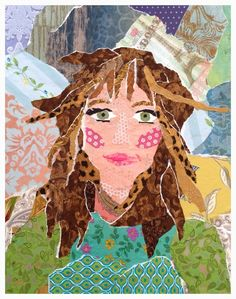 A whimsical, colorful and personal gift for yourself or any special occasion. Abstract Face Art, Diy Art Projects, Project Ideas, Photo Quilts, Collage Portrait, Paper Collage Art, Sewing Art, Art Lessons Elementary, Mixed Media Collage