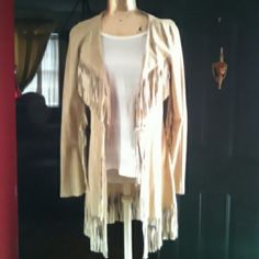 FRINGE SUEDE JACKET!! 100% Suede...Its thin suede not heavy at all...fringes on front..sleeves and fringes at bottom...i only wore once cause i gained few lbs..lol...This is a must have....brand new..perfect condition... Arden B Jackets & Coats
