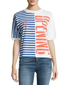 OPENING CEREMONY STRIPED STRETCH LOGO TEE, MULTICOLOR. #openingceremony #cloth #