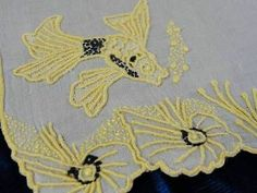 Five Marghab Fish Cocktail Napkins Yellow Black | eBay Vintageblessings