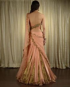 Peach Wedding Lehenga by Pam Mehta (back view)