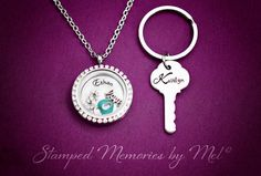 Key to My Heart  Hand Stamped Locket and Key Chain Set, Personalized by StampedMemoriesbyMel, $64.00