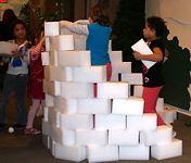 Snow Fort with Styrofoam Blocks
