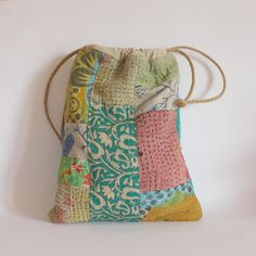 Drawstring bag patchwork kantha pinks greens by roxycreations