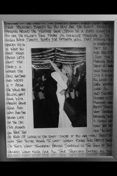framed picture of the first dance with song lyrics