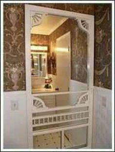 Love it old screen door with a mirror~