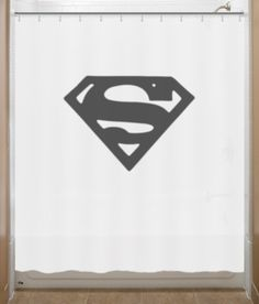 Superman Shower Curtain Chest S Logo .. thinking about re doing my bathroom in SuperHeroes.... how fun is that!