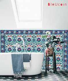 Kitchen/ bathroom Turkish tile/wall decals- Single design pattern with border : 44 pcs