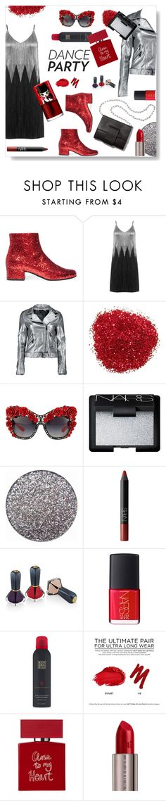 """""""Dance party"""" by gul07 ❤ liked on Polyvore featuring Yves Saint Laurent, Boohoo, MM6 Maison Margiela, Dolce&Gabbana, NARS Cosmetics, Oribe, Rituals, Urban Decay, Bella Freud and peripera"""