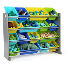 Shop for Tot Tutors Grey/Multi Super-Sized Kids Toy Storage Organizer w/ 16 Plastic Bins, Elements Collection. Get free delivery On EVERYTHING* Overstock - Your Online Furniture Outlet Store! Toy Storage Boxes, Storage Ideas, Storage Containers, Storage Solutions, Wooden Organizer, Plastic Bins, Toy Organization, Bedroom Organization, Bedroom Storage