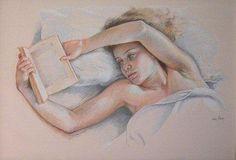 Femme lisant 1989 Pastel sur papier 70 x 100 cm