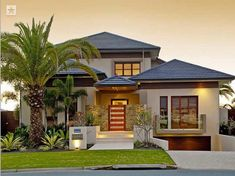 House exterior design bungalow full size of modern house exterior design pictures designs south sample facade ideas in home simple bungalow house exterior Tropical House Design, Tropical Houses, Modern House Design, Modern Zen House, Modern Tropical House, Tropical Interior, Garden Modern, Australian Homes, Facade House