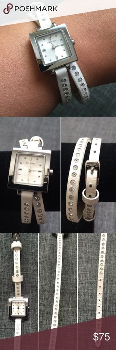 White Rhinestone Wrap Watch by TOKYObay TOKYObay Double Wrap Watch with Rhinestone Detail. Leather strap, with stones throughout. Used with love, in great condition, no missing stones. Watch needs a battery. TOKYObay Accessories Watches