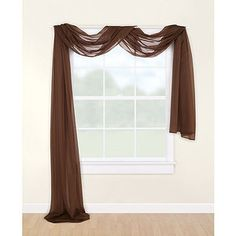 Walmart Chocolate Window Scarf from Mainstays--would look great with white sheers beneath in formal LR