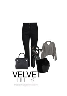 'velvet heels' by me on Limeroad featuring Black Sandals, High Rise Black Trousers with Solids Grey Tops