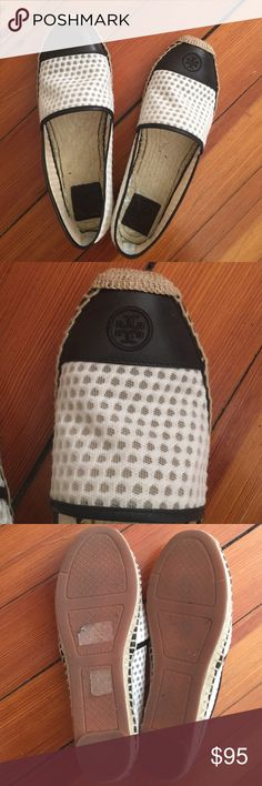 Tory Burch Espadrilles Black and white pair, excellent condition - like new! Worn once. The white part of shoes has dots that are see through. Super cute!! Make an offer or bundle for a 20% discount! Tory Burch Shoes Espadrilles