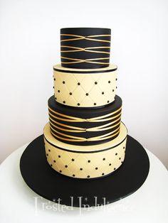 Ivory Fondant with black dots and gold detailing...Elegant! ...frostedindulgence.com.au