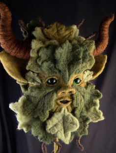 Green Man Cushion Cover Druid Plush Soft God Nature Pagan