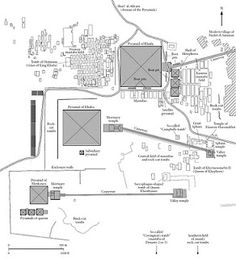 Plan of the three Giza pyramid complexes and nearby tombs. From J. Baines and J. Malek, Cultural Atlas of Ancient Egypt.Oxford: Andromeda, 2000.