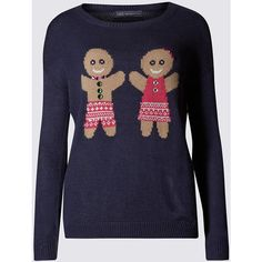 M&S Collection Gingerbread Pair Jumper ($40) ❤ liked on Polyvore featuring tops, sweaters, blue, blue long sleeve top, blue top, embellished sweater, embellished tops and sparkly tops