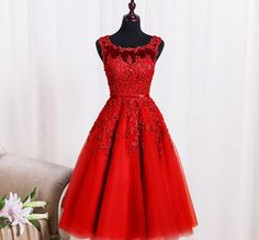 Red Lace Homecoming Dress,Beads Homecoming Dress,Short Prom Dress,Appliques Cocktail Dress,Tulle Party dresses,Birthday Juniors Dress,PD150