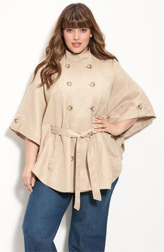 I really want a cape in my life.  Double-Breasted Cape  #plus #size #fashion